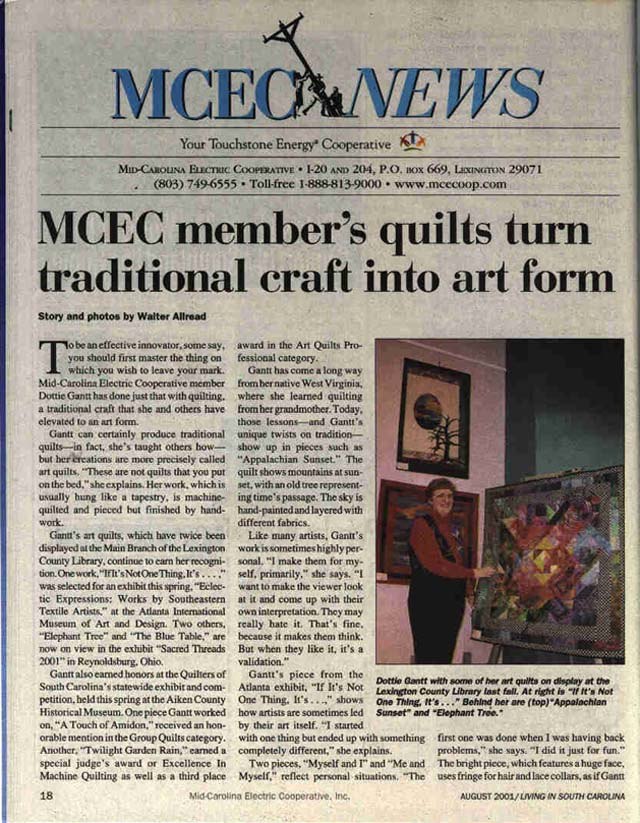 Copy of article about Dottie Gantt in the MCEC News