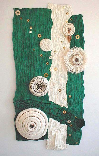 """Circles Within and Circles Without"" copyright 2001 - Art Quilt by Dottie Gantt"