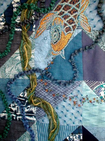 "Detail View of ""Koi Being Coy - Again"" copyright 2001 -  Art Quilt by Dottie Gantt"