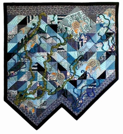 """Koi Being Coy - Again"" copyright 2001 -  Art Quilt by Dottie Gantt"