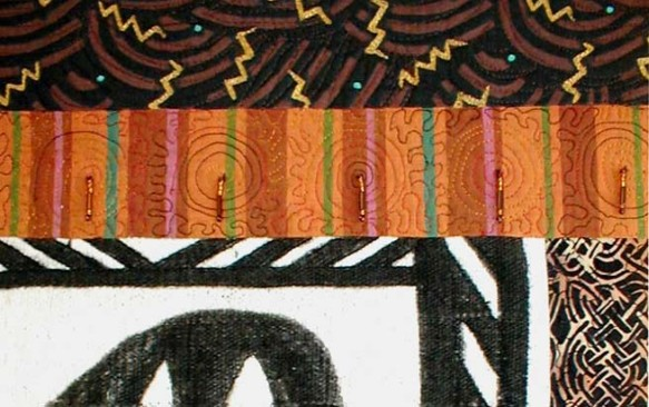 "Detail View of ""Mali Mud"" copyright 2001 -  Art Quilt by Dottie Gantt"